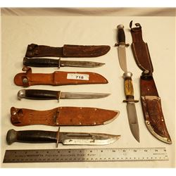 Five Vintage Hunting Knifes With Sheaths