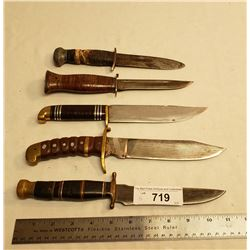 Five Vintage Hunting Knives