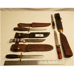 Five Hunting Knives With Sheaths