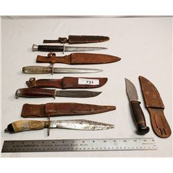 Five Vintage Knives With Sheaths