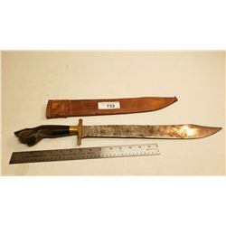 Large Vintage Middle Eastern Fighting Knife In Sheath