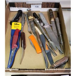 Tray Lot Of 15 Misc Vintage Knives
