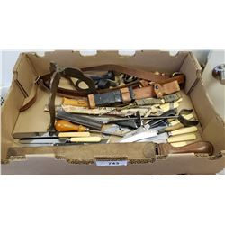 Large Box Lot Of Misc Barber Shop Strap Cutlery Etc..