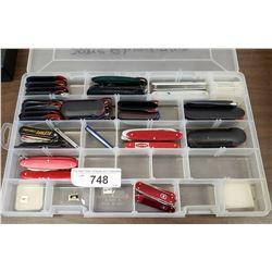 Tray Lot Of Swiss Army Knives