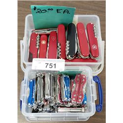 Box Of Swiss Army Knives Plus Box Of Miniature Leathermans