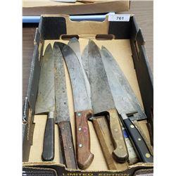 9 Large Vintage Kitchen Knives