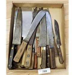 Large Lot Of Vintage Kitchen Knives