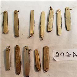 12 Miniature Vintage Pocket Knives