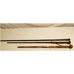Vintage Riding Crop, Swagger Stick, And A Drill Cane (Vintage)
