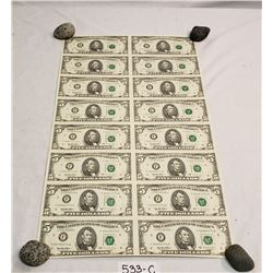 16 Uncut U.S. 5 Bills