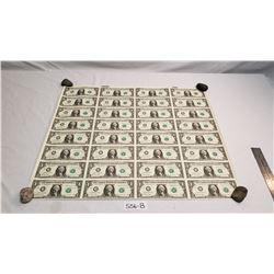 32 Uncut Us 1 Dollar Bills