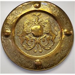 Large Vintage Hand Pounded Brass Trays With Knight And Lions