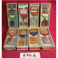 Group Of 8 Boxed BCRA Shooting Medals 1960's
