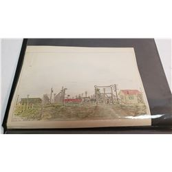 Rare Museum Quality Photo Album Consisting Of 18 Hand Drawn Color Etchings Of The Medicine Hat And L