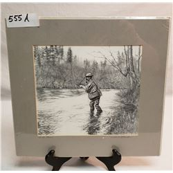 """12x13"""" Matted Original Pencil Drawing Of A Fisherman By Harold Bluestein"""