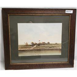 Original Water Color Old Fort Douglas Red River Winnipeg 1815