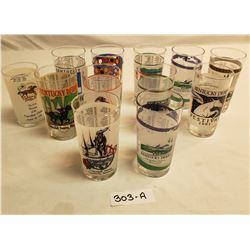 Group Of 12 Original Kentucky Derby Glasses