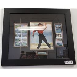 Framed Tiger Woods Picture With Stamps