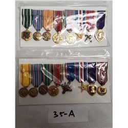 16 Miniature American Medals With Purple Hearts