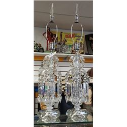 "Pair Of Vintage Crystal Lamps 35"" Tall"