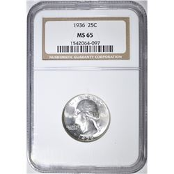 1936 WASHINGTON QUARTER NGC MS-65