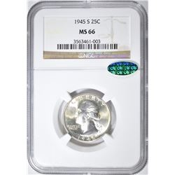 1945-S WASHINGTON QUARTER NGC MS-66 CAC