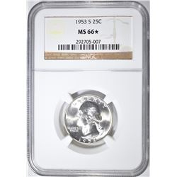 1953-S WASHINGTON QUARTER NGC MS-66*