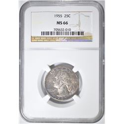 1955 WASHINGTON QUARTER NGC MS-66 COLOR