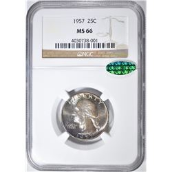 1957 WASHINGTON QUARTER NGC MS-66 CAC COLOR