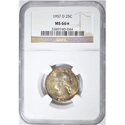 1957-D WASHINGTON QUARTER NGC MS-66*