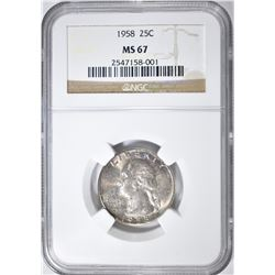1958 WASHINGTON QUARTER NGC MS-67 COLOR