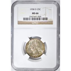 1958-D WASHINGTON QUARTER NGC MS-66 COLOR