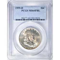 1959-D FRANKLIN HALF DOLLAR PCGS MS-64 FBL