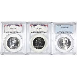 2007-P & 2-2011-D KENNEDY HALVES, PCGS MS-67