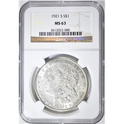1921-S MORGAN DOLLAR, NGC MS-63