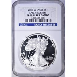 2010-W AMERICAN SILVER EAGLE, NGC PF69 ULTRA CAMEO