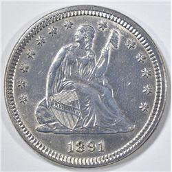 1891 SEATED LIBERTY QUARTER  GEM BU