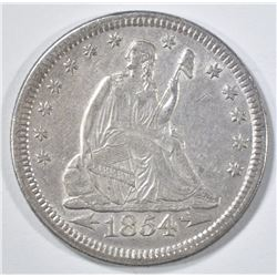 1854 ARROWS SEATED LIBERTY QUARTER  UNC