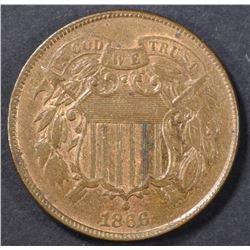 1866 2 CENT PEICE, BU