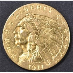 1911 $2.5 GOLD INDIAN HEAD  AU