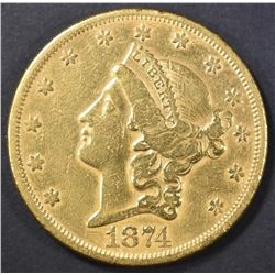 1874-S $20 GOLD LIBERTY  BU