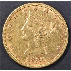 1881 $10 GOLD LIBERTY  AU
