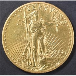 1908 $20 GOLD SAINT GAUDENS  NO MOTTO  BU