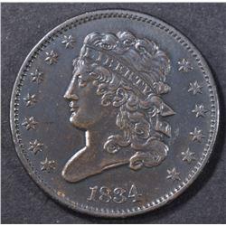 1834 HALF CENT  AU  DIE STATE 1.0