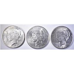 1926-P,S & 1925-S PEACE DOLLARS  BU