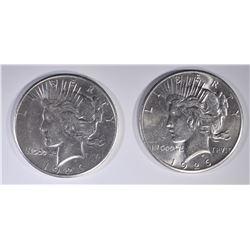 (2) 1926 PEACE DOLLARS  AU/BU