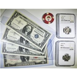 MIXED LOT:  $1 1957 A SILVER CERTIFICATES IN