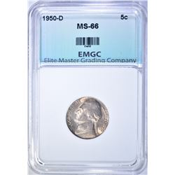 1950-D JEFFERSON NICKEL, EMGC SUPERB GEM BU