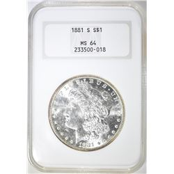 1881-S MORGAN DOLLAR  NGC MS-64
