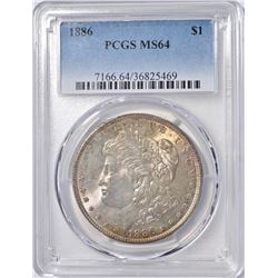1886 MORGAN DOLLAR PCGS  MS-64  COLOR